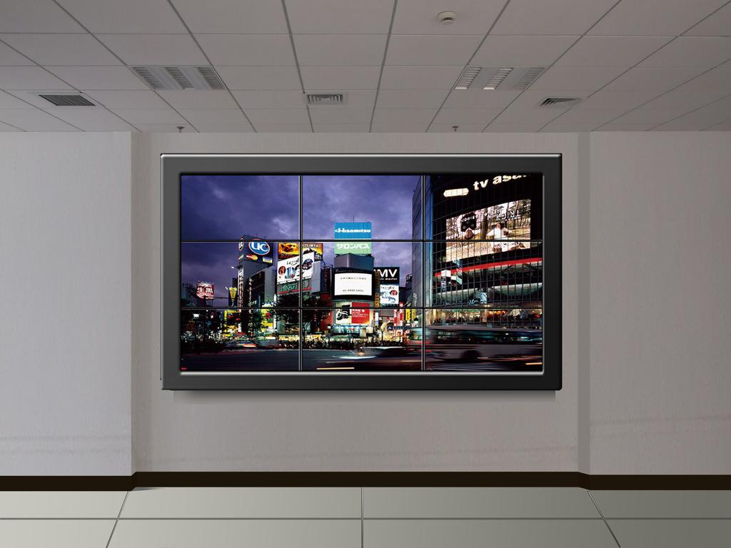 大屏幕拼接电视墙_LCD电视墙液晶拼接 可任意大屏显示 内置四分割开窗漫游_液晶屏 ...