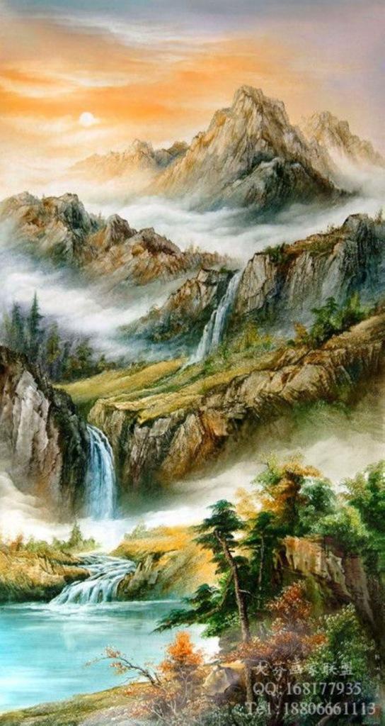 中国山水风景油画_刀画油画山水图片展示_刀画油画山水相关图片下载
