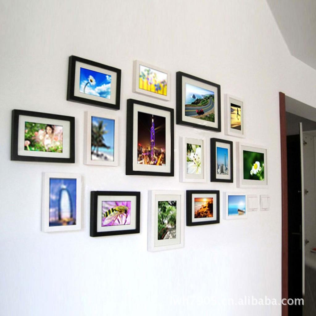 實木照片墻批發 裝飾組合歐式相框背景墻 義烏PS相片墻生產廠家
