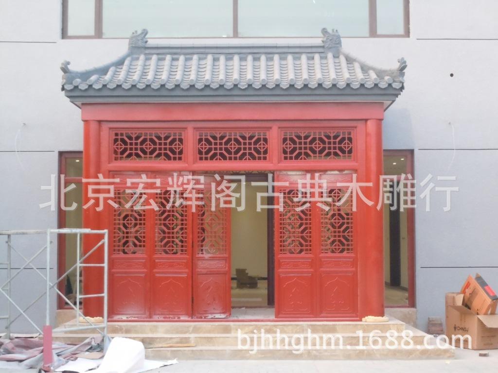 供应酒店 会所仿古门头 中式大门装饰 仿古古建木质 北京古建厂